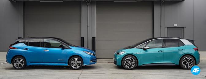 Volkswagen ID.3 58 kWh vs Nissan Leaf e+ test 2021