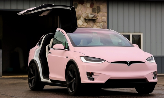 Maken Of Kraken Roze Tesla Model X Autofans
