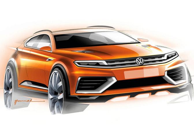 Eerste schetsen Volkswagen CrossBlue Coupé