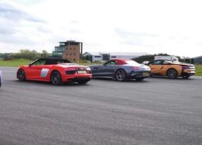 Audi R8 vs BMW i8 vs AMG GT C vs McLaren 570s