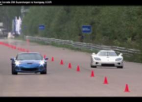Koenigsegg vs Corvette drag race