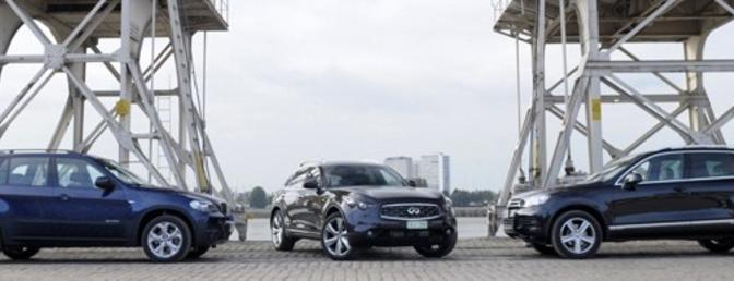 Triotest: Infiniti FX30d vs. BMW X5 xDrive30d vs. Volkswagen Touareg 3.0 V6 TDI